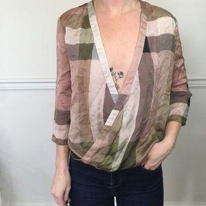 Derek Lam 10 Crosby Large Plaid Silk Blouse Shirt